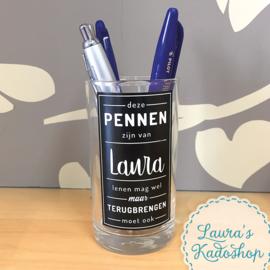 Glazen pennenhouder