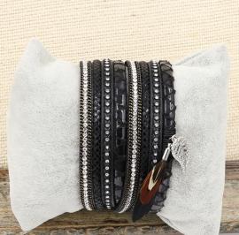 wikkelarmband Feather | zwart