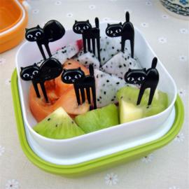 Zwarte kat prikkers, set van 6