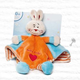 Knuffeldoekje konijn | oranje/blauw