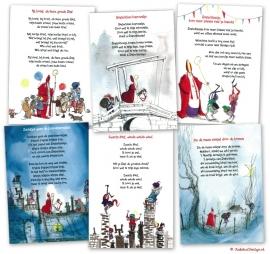 6 Sinterklaas-postkaarten Harmen van Straaten