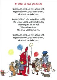 Postkaart 'Hij komt, de lieve goede Sint'