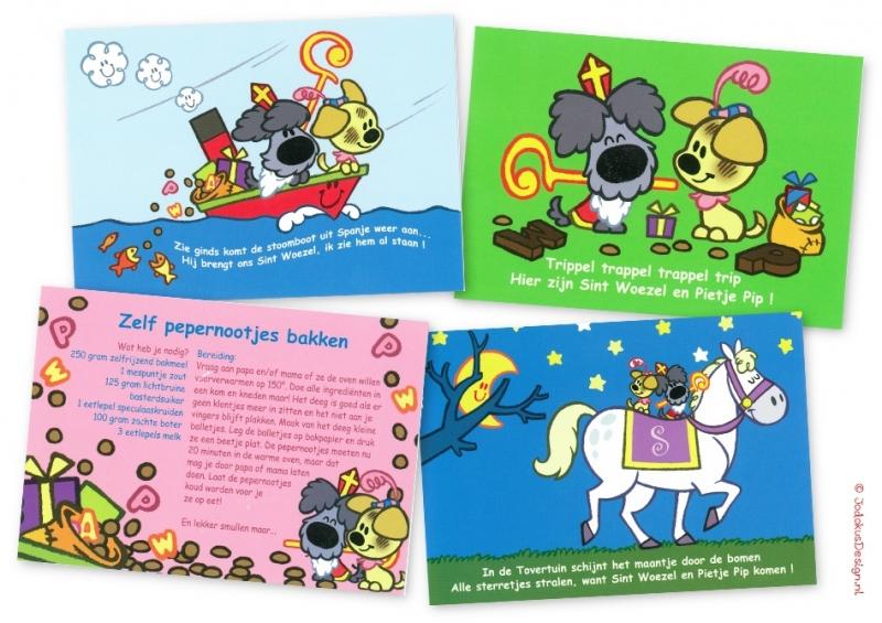 4 postkaarten Sinter Woezel & Pietje Pip