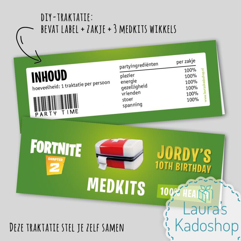 Label + zakje + wikkels - Medkits (Fortnite)