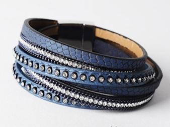 wikkelarmband leder | blauw
