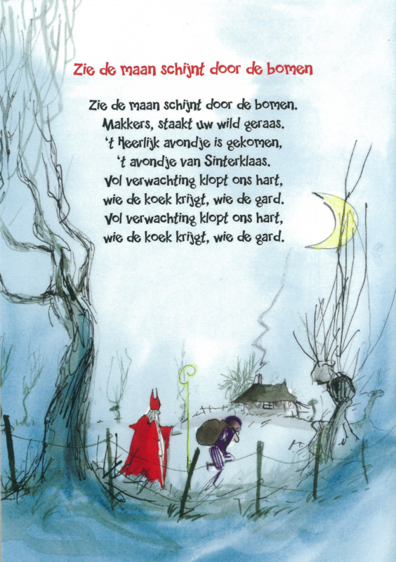 Postkaart 'Zie de maan schijnt door de bomen'