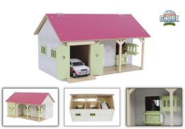 Kids Globe 610245 - Paardenstal met 2 boxen en berging roze  (1:32)