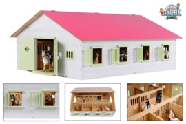 Kids Globe 610189 - Paardenstal met 7 boxen roze/wit (1:24)