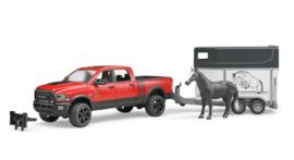 Bruder 2501 - Dodge RAM 2500 Power Wagon met paardentrailer en paard