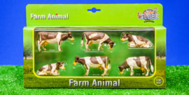 Kids Globe 570010 - Koeien roodbont; 4 st. staand en 2 st. liggend (1:32)