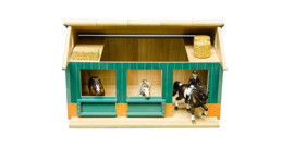 Kids Globe 610002 - Paardenstal met 2 boxen en berging (1:24)