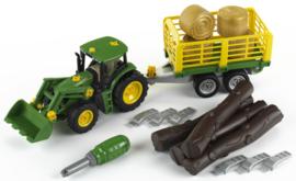 Theo Klein 3906 - John Deere Tractor met voorlader en aanhanger