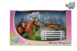 Kids Globe 640073 - Speelset paard met ruiter en accessoires (1:24)