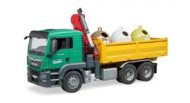 Bruder 3753 - MAN TGS vrachtwagen met laadkraan incl. glascontainers