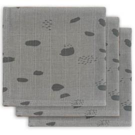 Jollein - monddoekje hydrofiel Spot Storm grey (3pack)