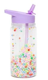 Petit Monkey - drinkfles paars met balletjes