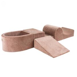 Meow Baby - foam blokken hindernisbaan met ballenbadje - Beige