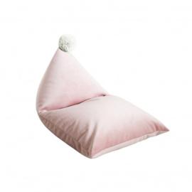 Fayne pouffe XXL zitzak - Licht Roze  met ecru pompom