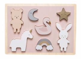 JaBaDaBaDo - Houten puzzel Teddy & Bunny (7 delig)