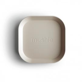 Mushie bord vierkant - ivory (set van 2 stuks)