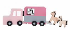 JaBaDaBaDo - Houten paardentrailer met paarden (roze)