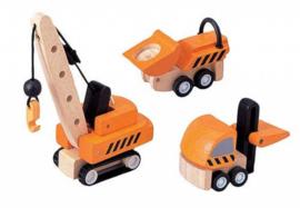 PlanToys - houten mini set constructiewagens (3 stuks)