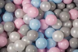 Meow ballen set 200 stuks - Baby blue, Pastel Pink, White Pearl & Grey