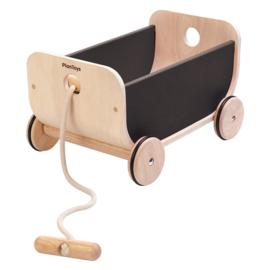 PlanToys - houten trekwagen zwart