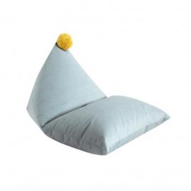 Fayne pouffe XXL zitzak - Aqua met gele pompom