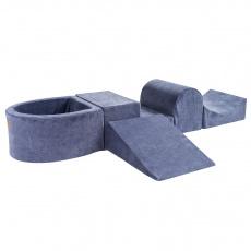 Meow Baby - foam blokken hindernisbaan met ballenbadje - Grijs/Blauw