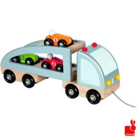 Janod trekfiguur vrachtwagen 3 auto's