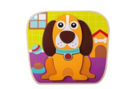 Joueco - Houten Dierenpuzzel Hond