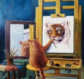 Diamond painting poes verft tijger (60x60cm)(full)