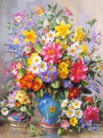 Diamond painting prachtige bloemen (40x30cm)(full)(ronde steentjes)