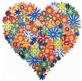 Diamond Painting bloemen hart (25x25cm)