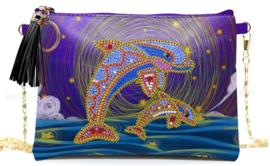 Diamond painting tasje met rits (dolfijnen)