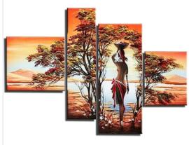 Diamond painting Afrikaanse 4 luik (1x27x20cm)(1x13x40cm)(1x20x40cm)(1x20x20cm)(full)