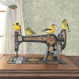 Diamond painting naaimachine met vogeltjes (50x50cm)(full)