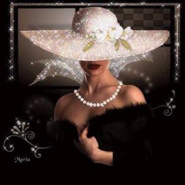Diamond painting Vrouw met hoed (50x50cm)(full)