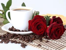 Diamond painting koffie met rozen (50x40cm)(full)