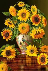 Diamond painting vaas met zonnebloemen (50x35cm)(full)