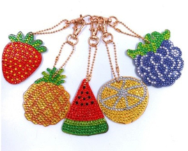 Diamond painting sleutelhangers fruit (full)