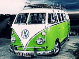 Diamond painting groene volkswagen (40x30cm)(full)