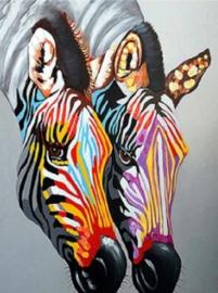 Diamond painting kleur zebra's (60x45cm)(full)