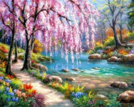 Diamond painting prachtige roze boom (80x60cm)(full)