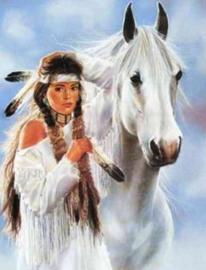 Diamond painting indiaan met paard (60x40cm)(full)