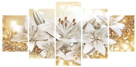 Diamond painting orchidee 5 luiken (2x15x23cm)(2x15x30)(1x15x38cm)(full)(ronde steentjes)