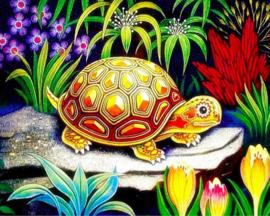 Diamond painting schattige schildpad (50x40cm)(full)