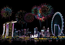 Scratch painting (Singapore Firework)