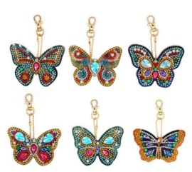 Diamond painting sleutelhangers vlinders